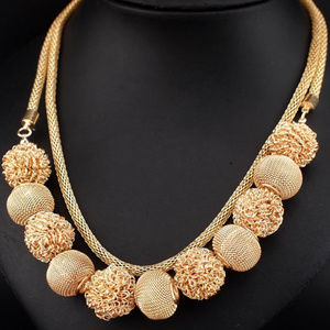 Jewelry - Statement Layered Sphere Metallic Ball Necklace